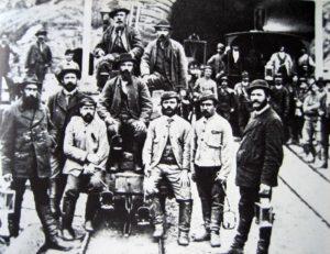 Operai della prima galleria ferroviaria del San Gottardo
