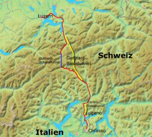 Streckenverläufe des Gotthard- und des Ceneri-Basistunnels